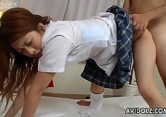 Oriental college whore Maya gets screwed by her teacher