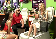 Petite blonde girl nailed in the salon