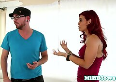 Redhead cougar throating younger dudes dick