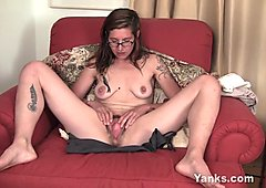 Tattooed Sylvie Toying Her Hairy Snatch