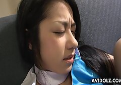 Asian chick gets probed and poked with toys