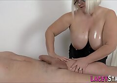 Gran masseuse gobbles and rides cock