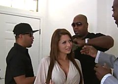 Alison Star joins the party and gives a blowjob to a giant black dick