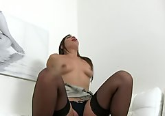 FakeAgent Brunette Milf sucks and fucks agent on casting couch