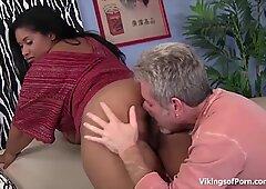 BBW Ebony Slut Fucking Hard Fat White Cock