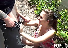 Czech babe flashes her big tits and fucked in a backyard