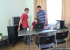 Office 3some with 80 years old granny in stockings