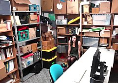 Skinny teen Eden Sin steals and punished for sex