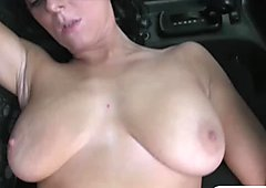 Busty babe gives head and banged by nasty fake driver