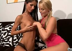 Dar haired babe Nessa Devil eagerly spreads her snatch for something hot