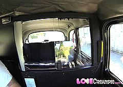 Love Creampie Dirty British slag sucking local taxi man to pay fare