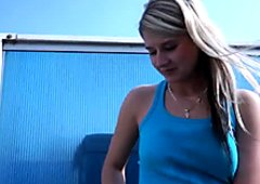 Shy blonde teen Tracy Anderson gives nice blowjob outside