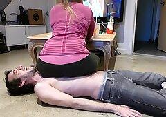 Mistress Snacks while Slave Cracks