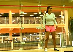 teen flashing big tits while playing squash