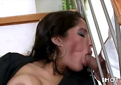 Experienced mom with big boobs sucks two hard cocks in turn