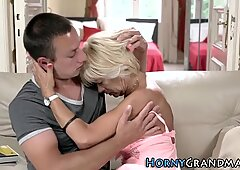 Blonde granny gives head