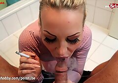 MyDirtyHobby - MILF smokes while blowing and facialized