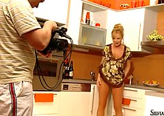 Lascivious housewife Silvia Saint masturbates in her kitchen