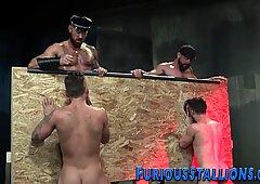 Bearded hunks sucking