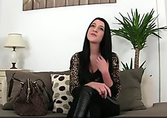 Auditioning eurobabe fucked on couch
