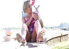 Ftv girlShannonlovely blonde walking with her dog and masturbating in public
