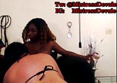 Mistress Devule Feeds White Slave Her Tits