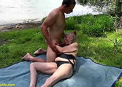85 years elderly granny first-ever time outdoor hookup