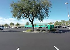 Porta Gloryhole Teen gets naked in parkin lot