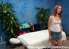 Cute red head teen fucked after ass and pussy massages