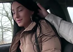 Lost Brunette Anna rides a random dick