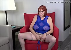 Busty granny fucks her ass and pussy