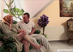 Old hairy granny is thirsty for a young cock