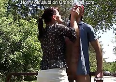 Old slut Vicky almost caught fucking young Daniel outdoors