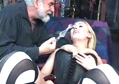 Hot, curvy golden-haired acquires tied, has her bawdy cleft toyed