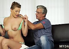 Old man cums in girl Sex with her boyally    s father after swimming pool