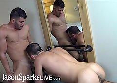 Straight first time jock gets cock bareback cum inside