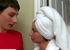 Carmen Monet and stepmom Jenna Moore share a cock