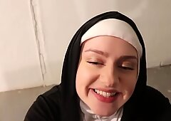 promiscuous Nun strokes youthfull Black Cock Before Halloween Party
