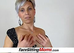Stockings mom with boy facesitting by czech lady Beate