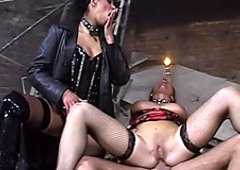 Outrageous BDSM porn video featuring wacky sluts in leather costumes