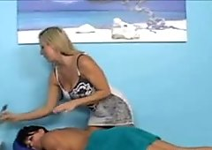CJ gets her first erotic massage with Carolyn.