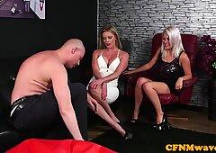 Euro MILF teasing during CFNM fetish