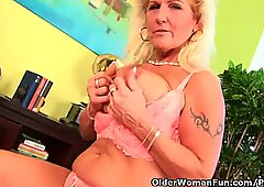 Very Hairy Grandmother With Hanging Big Tits Gives Her Old Pussy A Treat