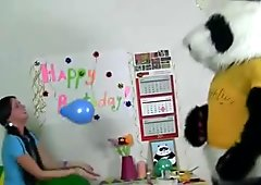Teen parties with horny toypanda