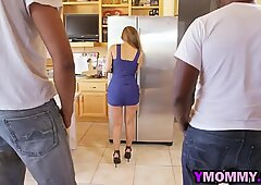 Slutty mommy with hot body gets tag teamed by two black studs
