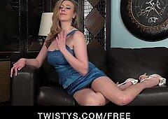 Big-boobed UK blonde in heels fucks her vibrator on cam