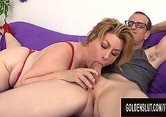 Juicy Granny Penny Sue Enjoys Sucking and Fucking a Stiff Cock