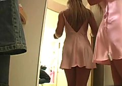 Kinky porn actress Shelby Bell shows off her tits and upskirt in the dressing room