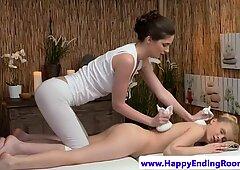 Lesbian masseuse rides ass in erotic massage