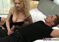 Love Creampie Mature horny mistress in stockings fucks